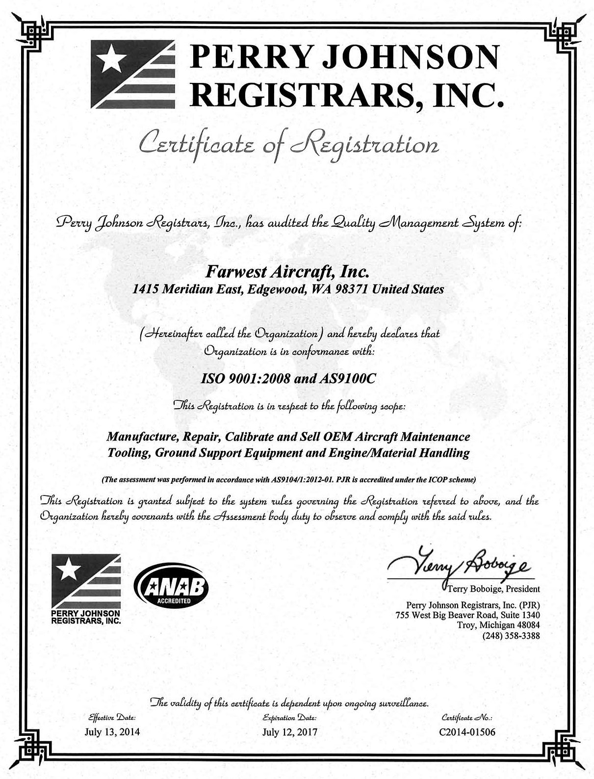 As9100 Registration Certification Color Copy Not To Be Sent To